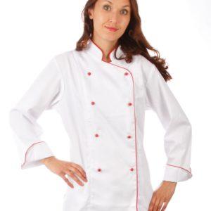 Куртка шеф-повара белая женская с манжетом купить в Санкт-Петербурге в магазине для поваров – For Chef Strore. Качественные товары. Быстрая доставка.