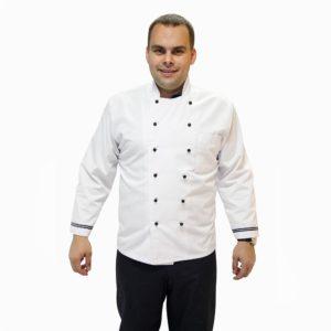 Куртка повара белая с синим кантом купить в Санкт-Петербурге в магазине для поваров – For Chef Strore. Качественные товары. Быстрая доставка.
