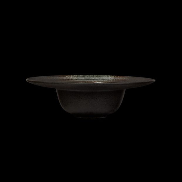 Тарелка для пасты «Corone» 230 мм черная с зеленым