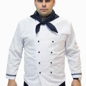 Куртка повара белая с синим кантом