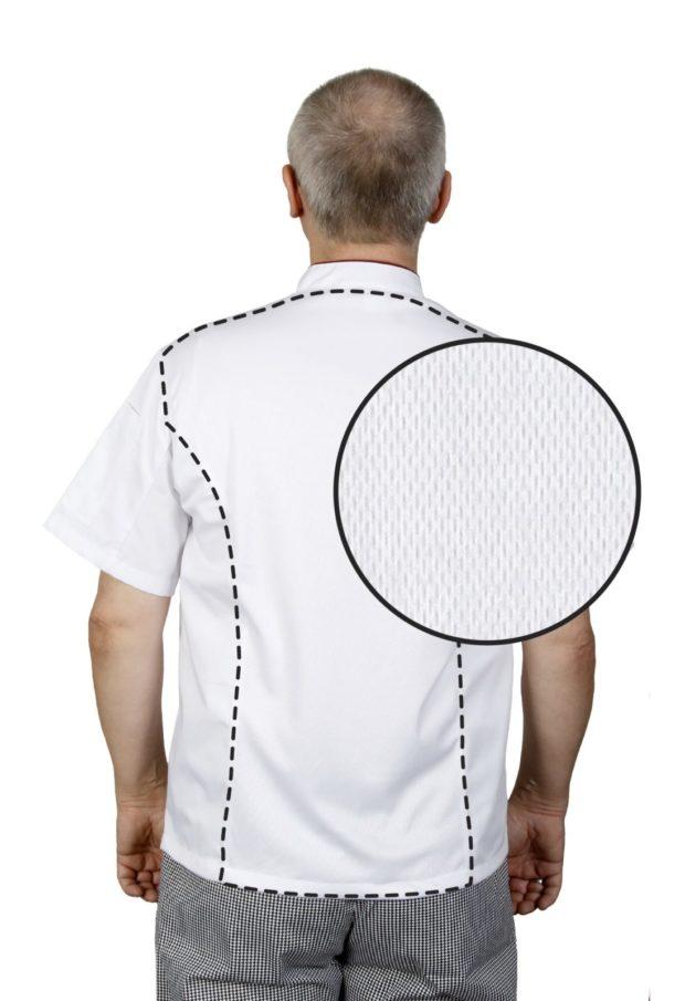 Куртка шеф-повара премиум белая рукав короткий (отделка бордовый кант) купить в Санкт-Петербурге в магазине для поваров – For Chef Strore. Качественные товары. Доставка.