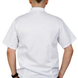 Куртка шеф-повара премиум белая рукав короткий (отделка черный кант) купить в Санкт-Петербурге в магазине для поваров – For Chef Strore. Качественные товары. Доставка.