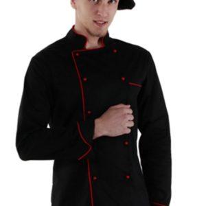 Куртка повара чёрная с длинным рукавом с манжетом купить в Санкт-Петербурге в магазине для поваров – For Chef Strore. Качественные товары. Быстрая доставка.