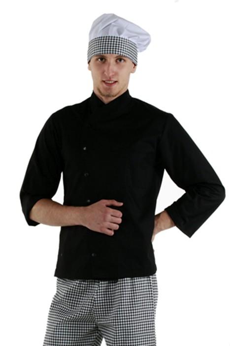 Куртка шеф-повара черная на кнопках с длинным рукавом на манжете купить в Санкт-Петербурге в магазине для поваров – For Chef Strore. Качественные товары. Быстрая доставка.