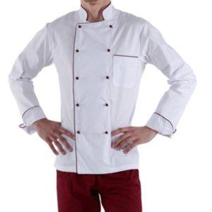 Куртка шеф-повара белая мужская с длинным рукавом на манжете (отделка бордовый кант) купить в Санкт-Петербурге в магазине для поваров – For Chef Strore. Качественные товары. Быстрая доставка.