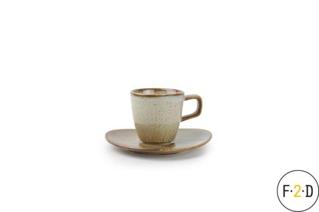 Чашка с блюдцем для эспрессо коричневая, F2D Бельгия, купить в Санкт-Петербурге в магазине для поваров – For Chef Strore. Качественные товары. Доставка.