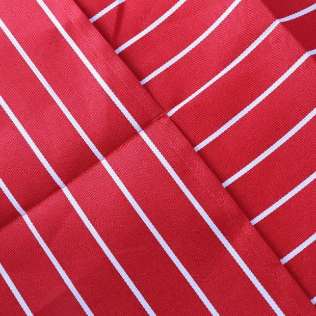 Фартук поварской красный в белую полоску классический