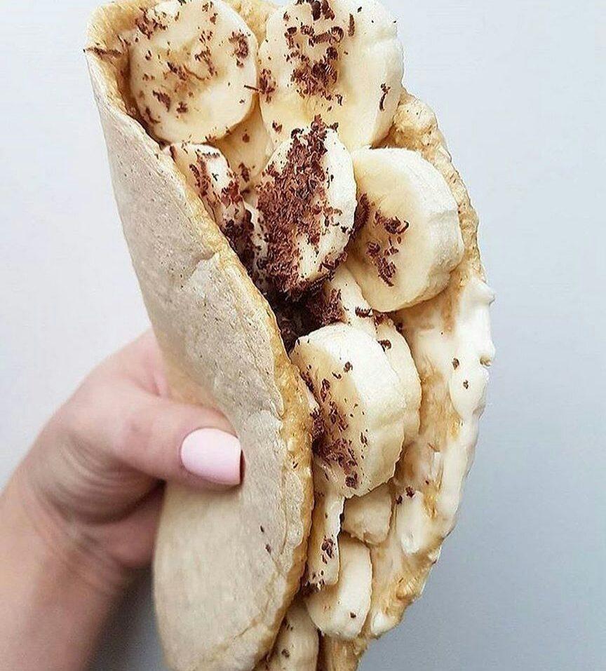 Овсяноблин с творогом и бананом